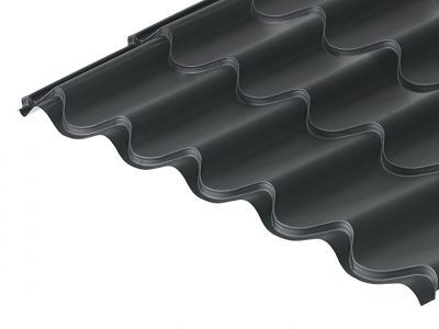 41/1000 Tile Form 0.6 Thick Black Mica Coated Roof Sheet