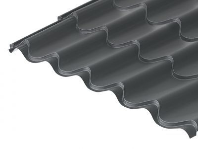 41/1000 Tile Form 0.6 Thick Graphite Grey Mica Coated Roof Sheet