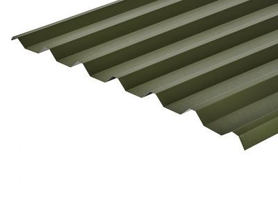34/1000 Box Profile 0.7 Thick Olive Green PVC Plastisol Coated Roof Sheet