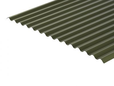 13/3 Corrugated 0.7 Thick Olive Green PVC Plastisol Coated Roof Sheet