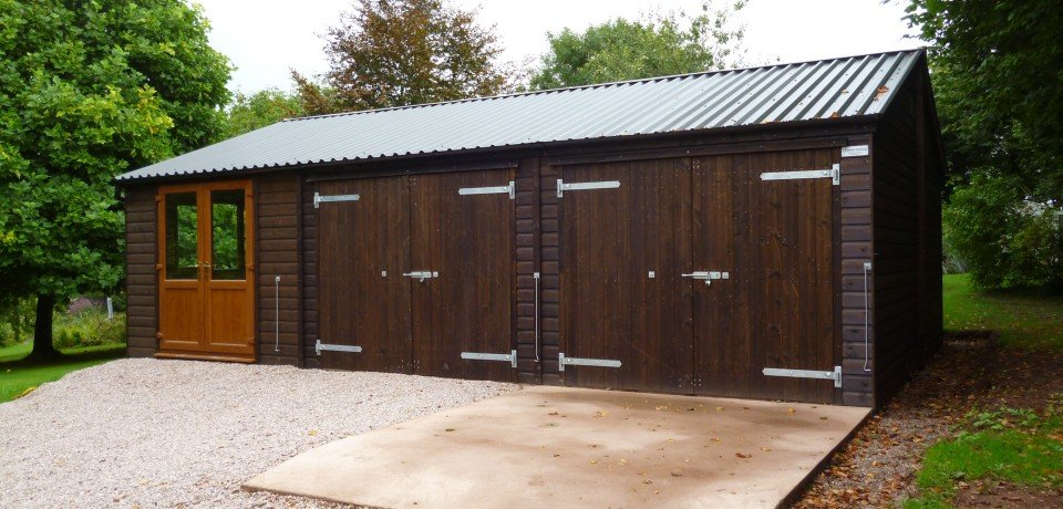 Anthracite Box Profile 34/1000 Roofing Sheets used on large barn