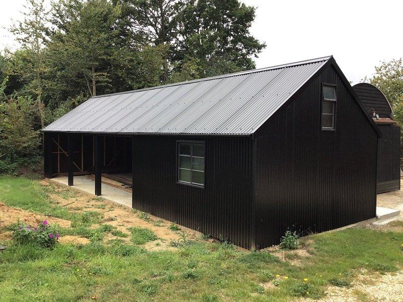 Black Corrugated Sheeting on converted barn