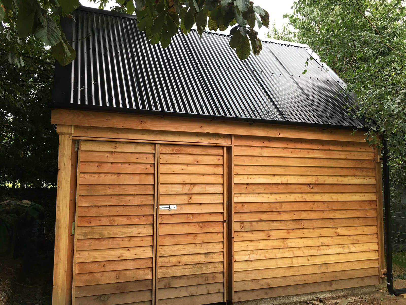 Corrugated Black PVC Roofsheets on Bat Barn