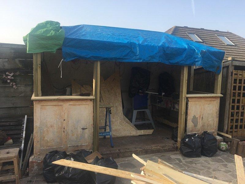 Juniper Green Corrugated Roofing Sheets on garden potting shed