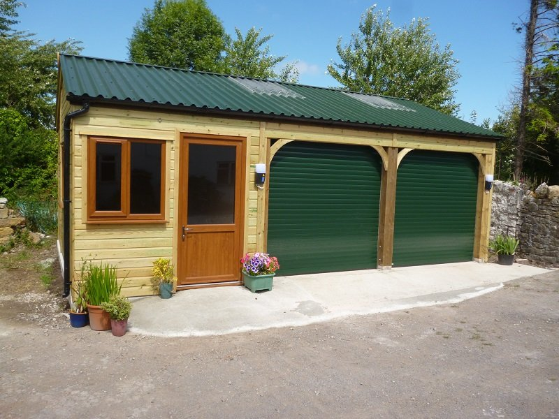 Double fronted garage using Juniper Green PVC Box Profile Sheets