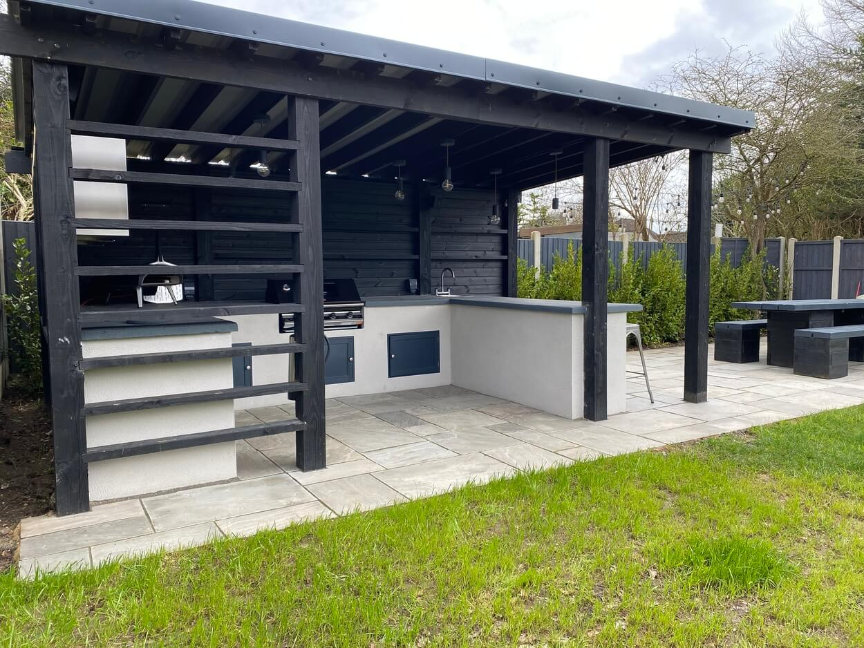 Outdoor kitchen protected from the elements with Cladco 32/1000 Box Profile Roofing Sheets