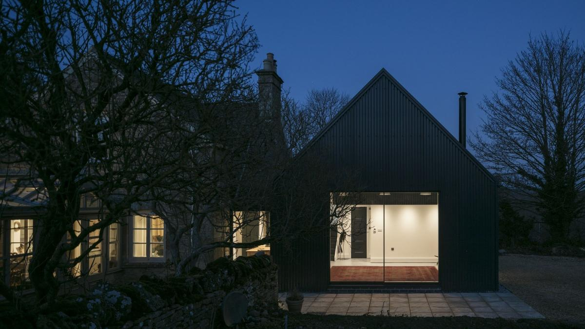 Contemporary extension using Cladco Corrugated Sheets in anthracite.